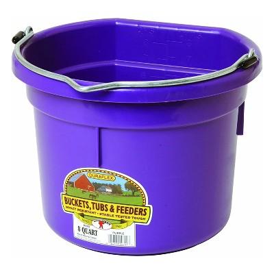 Little Giant P8FBPURPLE 2 Gallon All Purpose Heavy Duty Farm Flat Back Plastic Bucket, Purple