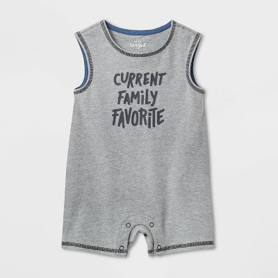 Baby Boys' Fam Fave Romper - Cat & Jack™ Gray 0-3M
