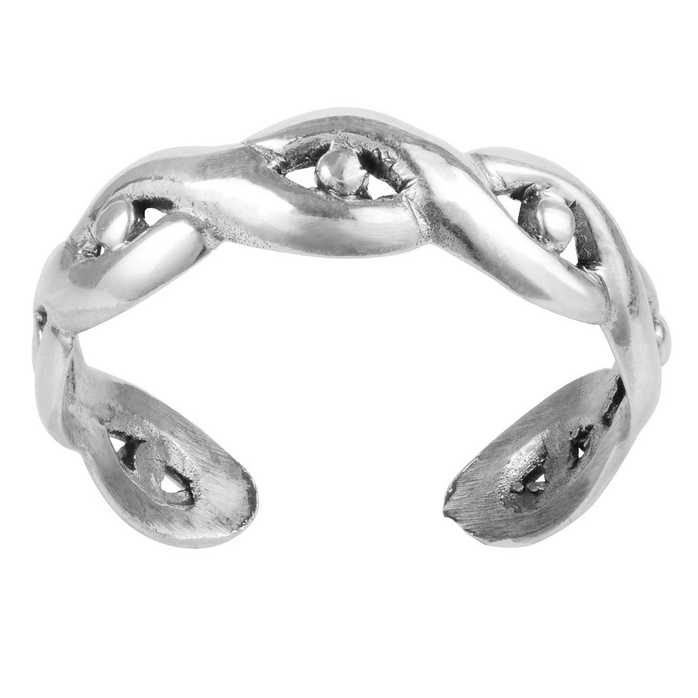 Women's Journee Collection Sterling Silver Twist Dot Toe Ring - Silver