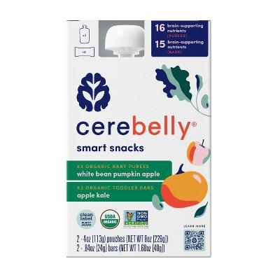 Cerebelly Smart Snack Pack - 2 White Bean Pumpkin Apple Pouches & 2 Apple Kale Bars