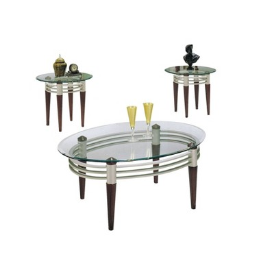 3pc Marseille Coffee and End Table Set with Clear Glass Cherry/Silver - Acme Furniture