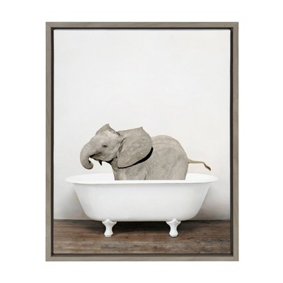 "18"" x 24"" Sylvie Baby Elephant in the Tub Framed Canvas Wall Art by Amy Peterson Gray - Kate and Laurel"