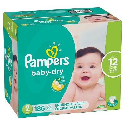 Pampers Baby Dry Disposable Diapers Enormous Pack - Size 2 (186ct)