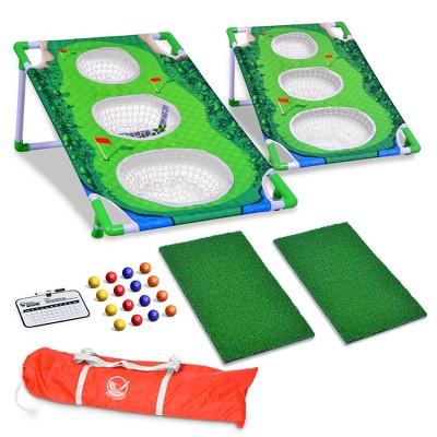 GoSports BattleChip Match Golf Tournament Cornhole Outdoor Backyard Lawn Game with Chipping Targets, Golf Balls, Hitting Mats, and Carry Case