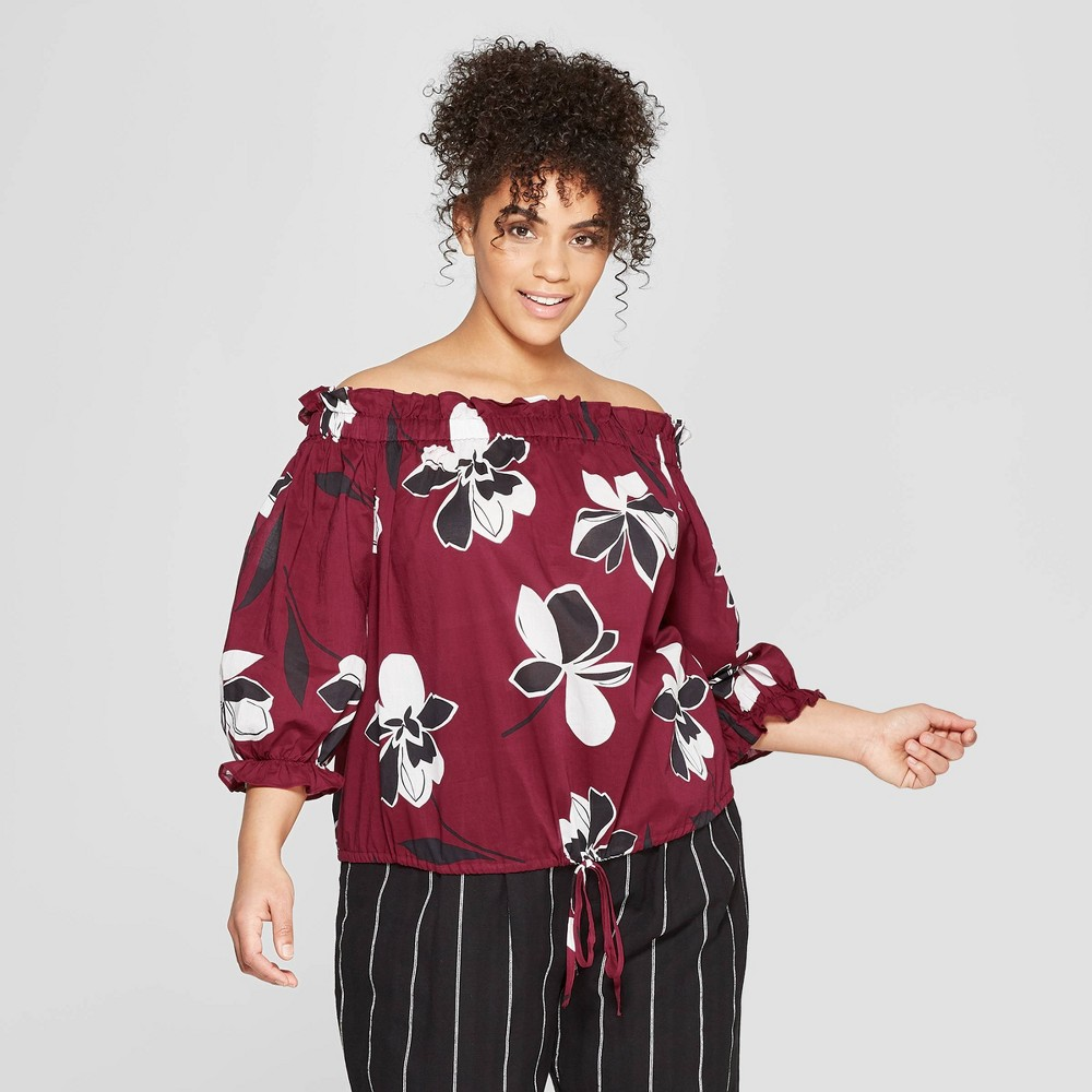 Women's Plus Size Floral Print 3/4 Sleeve Off the Shoulder Bardot Top - Who What Wear Red 2X, Black