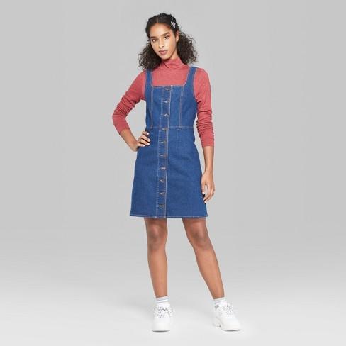 ce8a59a452 Women s Strappy Button-Front Denim Dress - Wild Fable™ Blue Denim ...