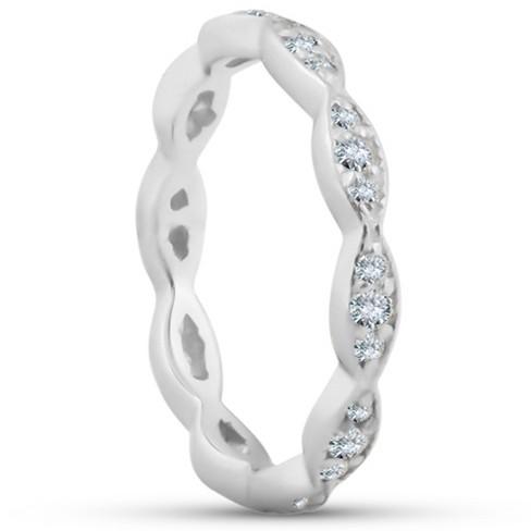 Pompeii3 3/8ct Diamond Vintage Eternity Ring Stackable Womens Wedding Band 14k White Gold - image 1 of 4