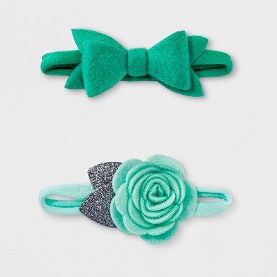 Baby Girls' 2pk Bow Headband Set - Cloud Island™ Mint