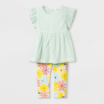 Baby Girls' Dobby Tunic and Floral Leggings - Cat & Jack™ Green/Yellow 6-9M