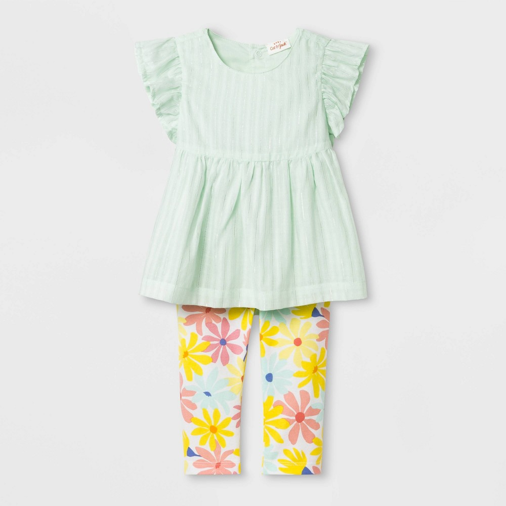 Baby Girls' Dobby Tunic and Floral Leggings - Cat & Jack Green/Yellow 12M, Blue