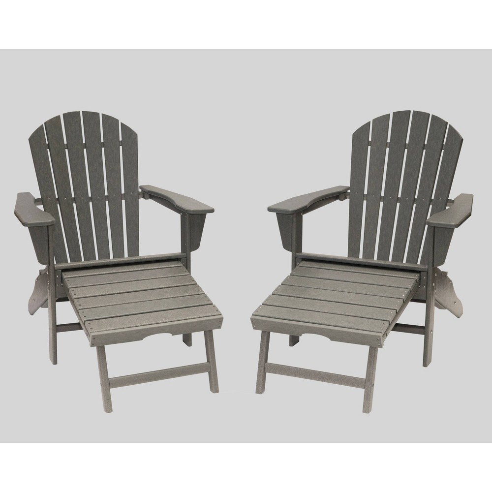 Image of Hampton 2pk Outdoor Patio Adirondack Chair with Hideaway Ottoman - Gray - LuXeo