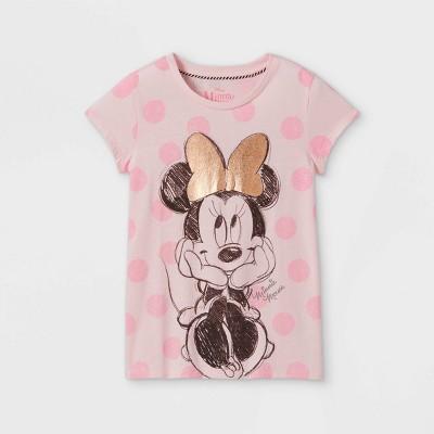 Girls' Minnie Mouse Cap Sleeve Graphic T-Shirt - Light Pink