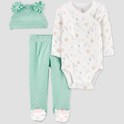 Baby Girls' Unicorn 3pc Top & Bottom Set - Just One You® made by carter's Green 3M