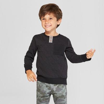 Toddler Boys' Pullover Henley Sweatshirt with Pocket - Cat & Jack™ Black 18M