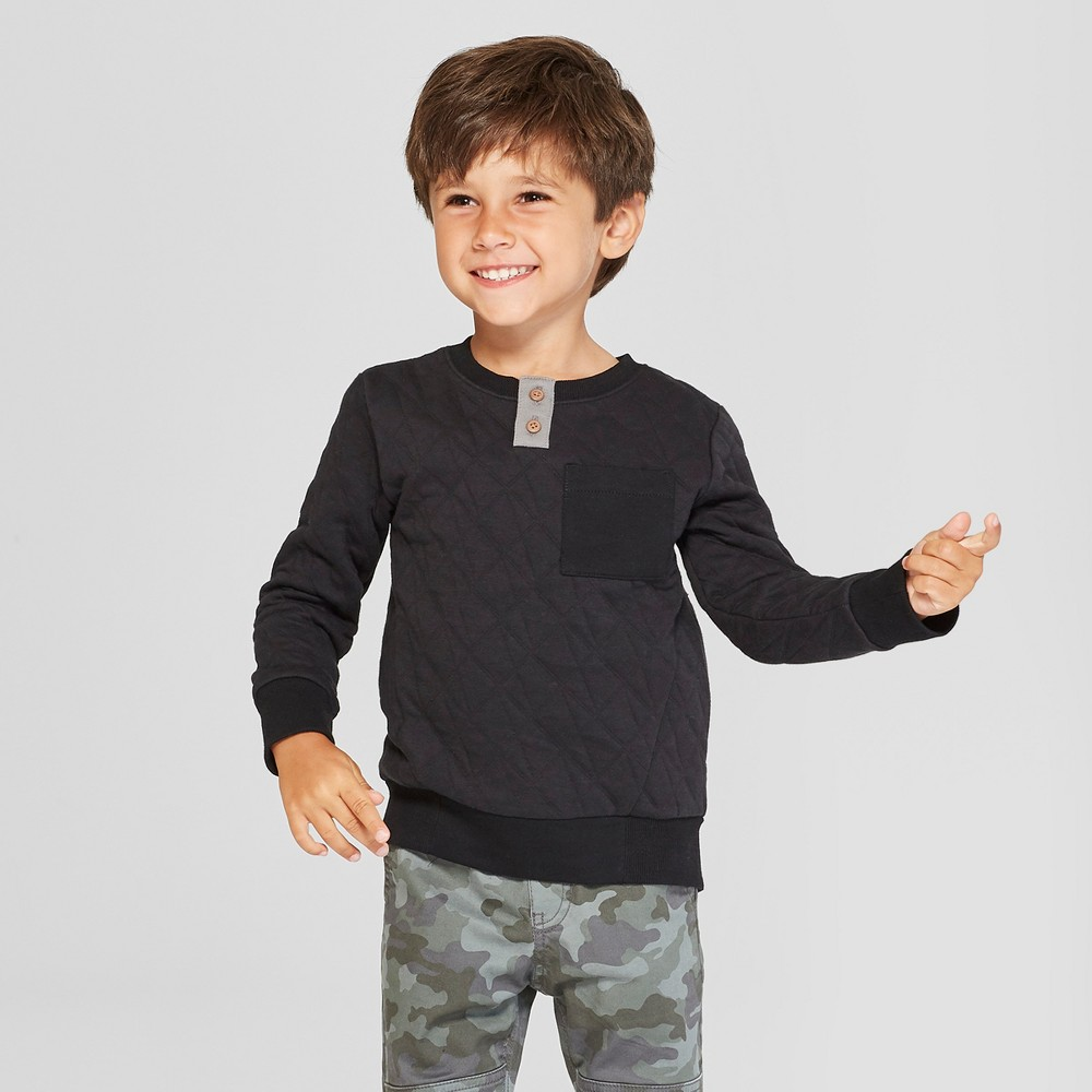 Toddler Boys' Pullover Henley Sweatshirt with Pocket - Cat & Jack Black 12M