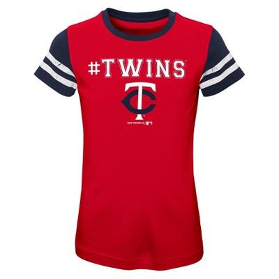 MLB Minnesota Twins Girls' Scoop Neck Yolk T-Shirt