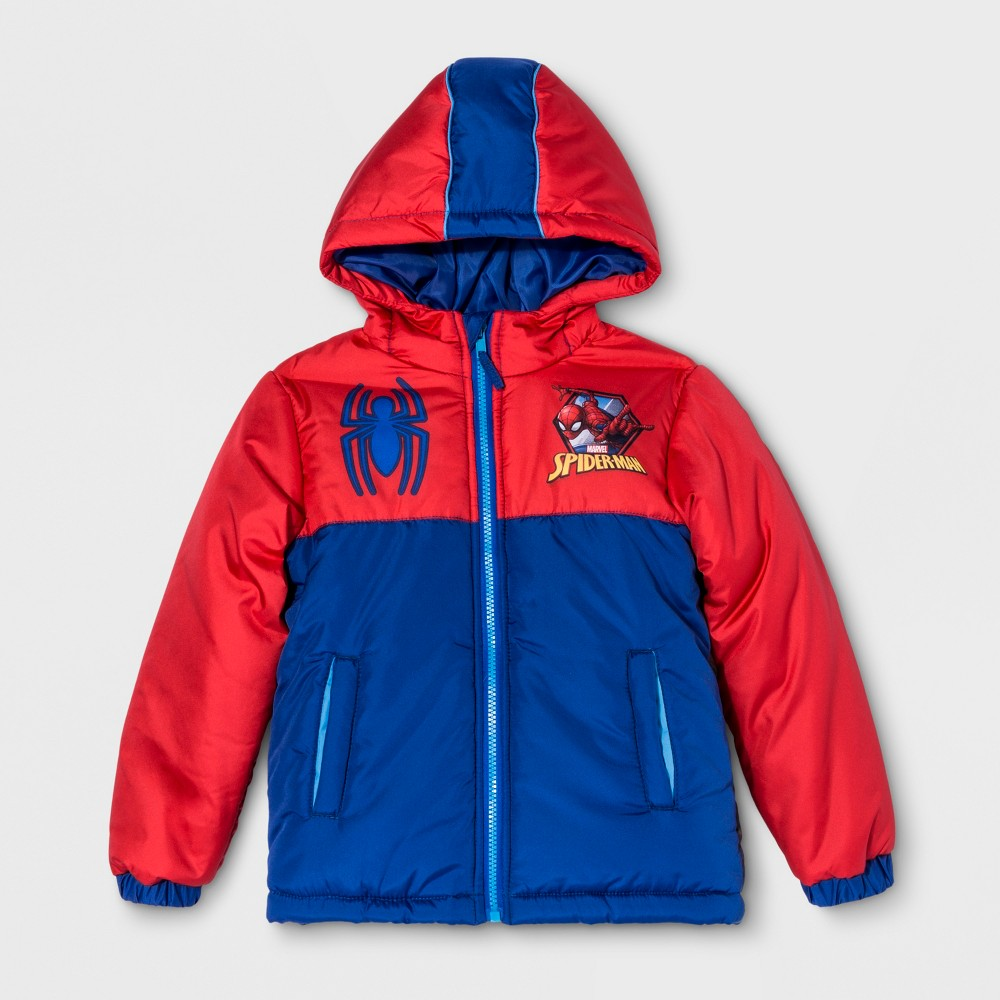 Boys' Spider-Man Puffer Jacket - Red 5
