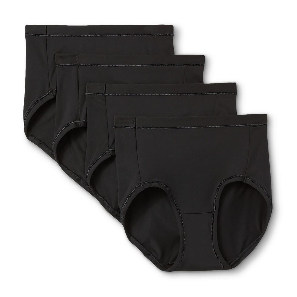 Hanes Premium Women's Cool & Comfortable 4 pack Microfiber Briefs - Basic Colors Size 8, Black
