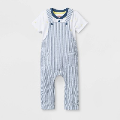 Baby Boys' Seersucker Overall Top & Bottom Set - Cat & Jack™ White/Blue Newborn
