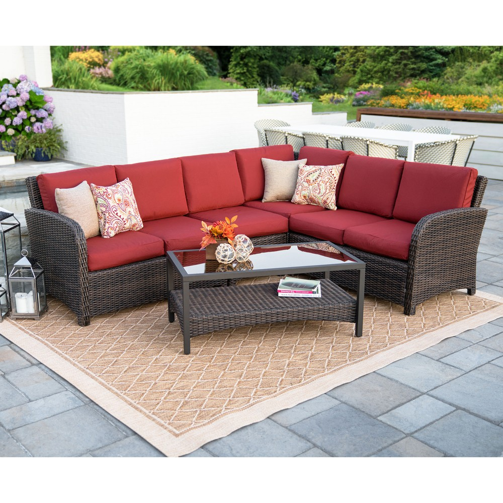 5pc Jackson All-Weather Wicker Corner Sectional Red - Leisure Made