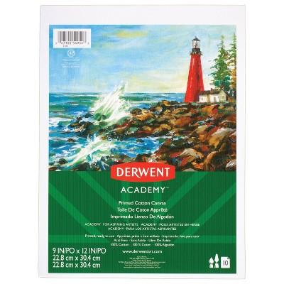 "Derwent Academy 10 Sheeets Primed Cotton Canvas Pad 9"" x 12"""
