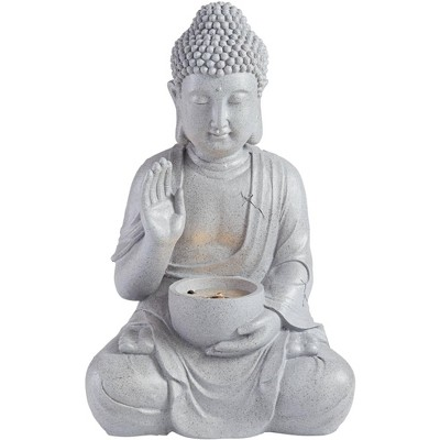 """John Timberland Asian Zen Buddha Outdoor Water Fountain with Light LED 19"""" High Sitting for Table Desk Yard Garden Patio Deck Home"""