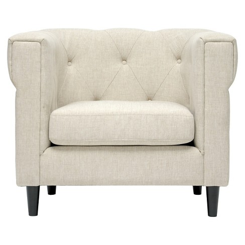 Cortland Linen Modern Chesterfield Chair Beige - Baxton Studio - image 1 of 3