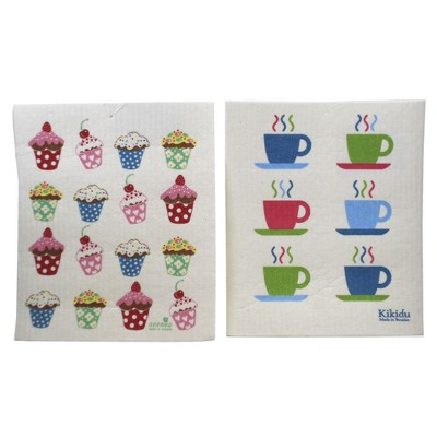 Swedish Dish Cloth Cupcakes & Expresso Mugs Eco-Friendly Absorbant  -  Dish Cloth