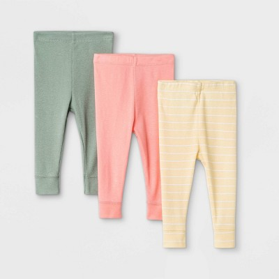 Baby Girls' 3pk Solid and Striped Pull-On Pants - Cloud Island™ Yellow/Pink/Green 0-3M