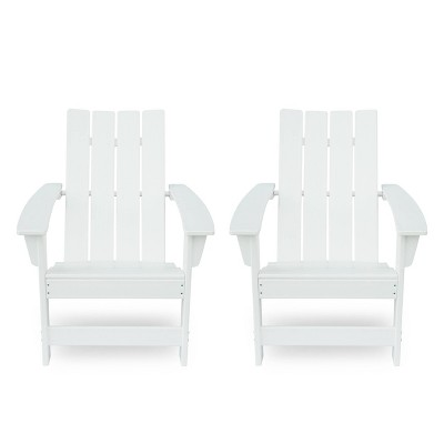 Encino 2pk Resin Contemporary Adirondack Chairs - White - Christopher Knight Home