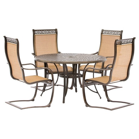 Manor 5pc Round Metal Patio Dining Set - Tan - Top Dining Table - Hanover - image 1 of 5