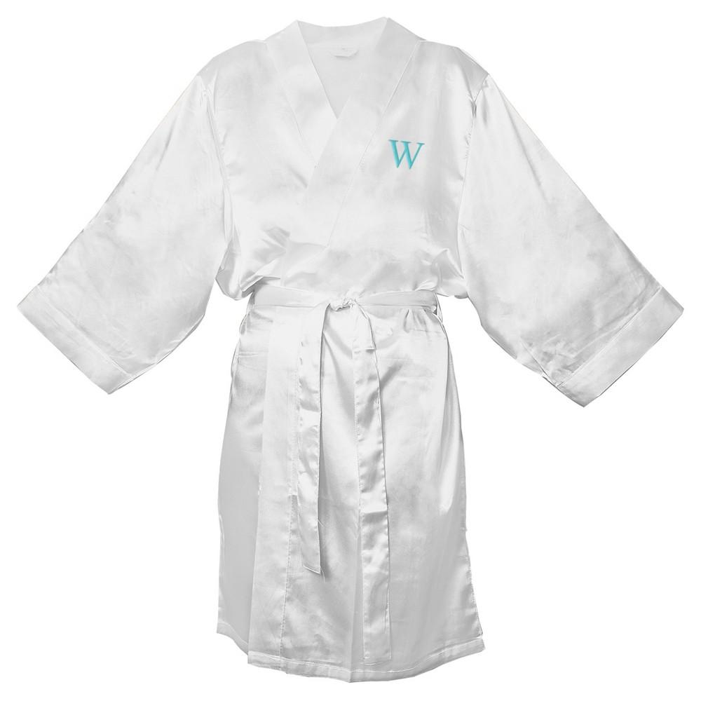 Monogram Bridesmaid 1X2X Satin Robe - W, Size: 1X2X - W, White - W