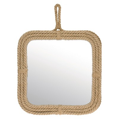 "23"" x 17.3"" Decorative Wall Mirror with Rope Trim Tan - Stonebriar Collection"