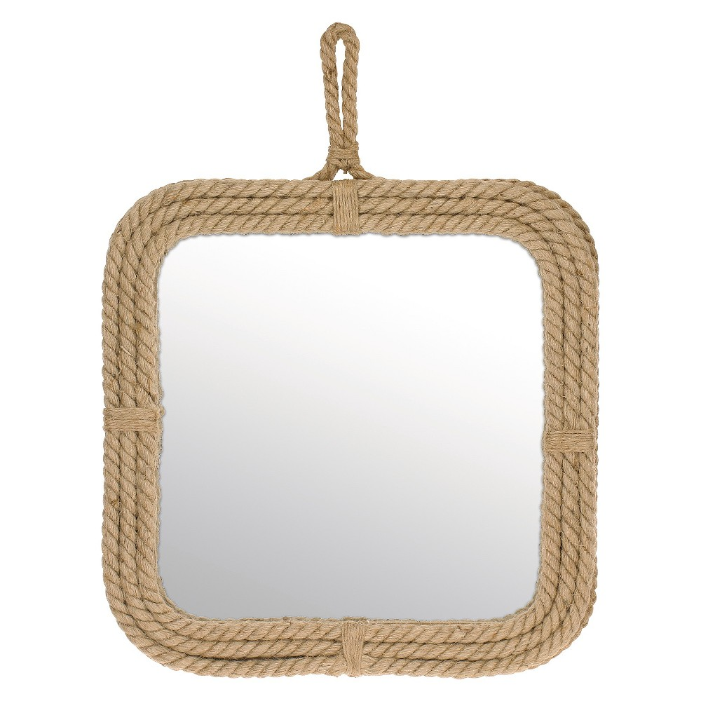 Image of Square Decorative Wall Mirror with Rope Light Brown - CKK Home Decor