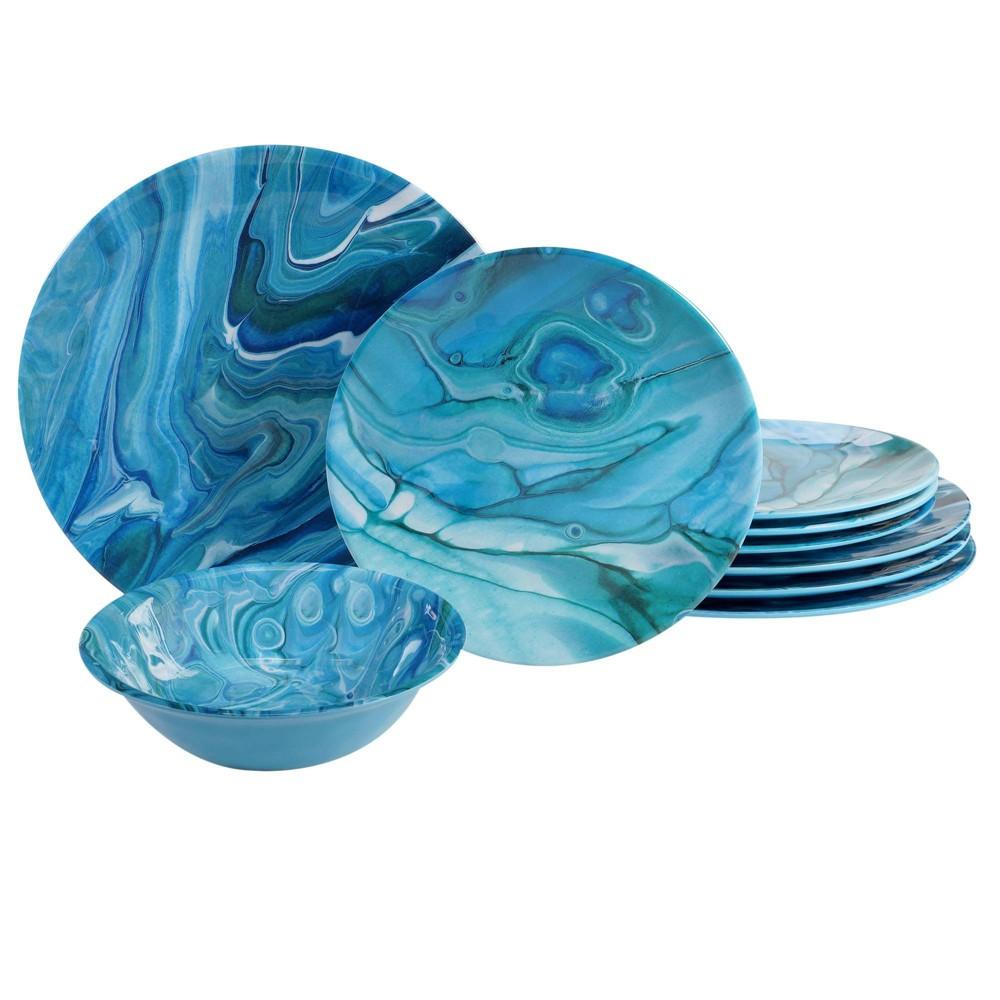 Image of 12pc Melamine Fluidity Dinnerware Set Blue - Certified International