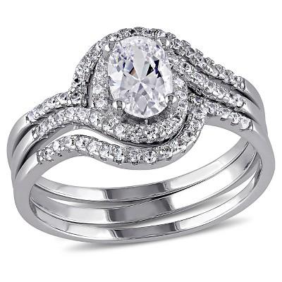 1.93 CT. T.W. Halo Cubic Zirconia Swirl Bridal Set in Sterling Silver
