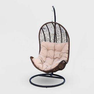 Bahia Outdoor Wicker Egg Shaped Swing Chair - Brown - Abbyson Living