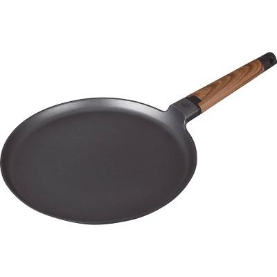 "MasterPan 11"" Designer Series Non-Stick Cast Aluminum Crepe Pan with Detachable Handle Black"
