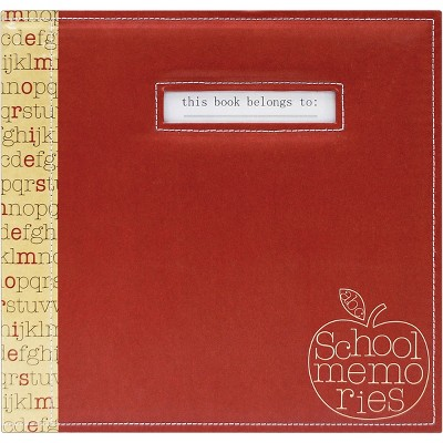 "MBI School Memories Post Bound Album W/Name Window 12""X12""-Red Apple"