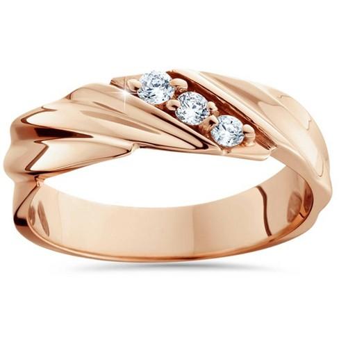 Pompeii3 1/10ct Diamond 14K Rose Gold Mens Wedding Ring - image 1 of 4
