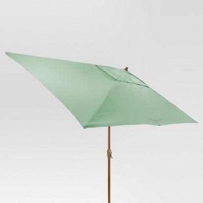 9.68' x 9.68' Rectangle Umbrella - Aqua - Medium Wood Finish - Threshold™