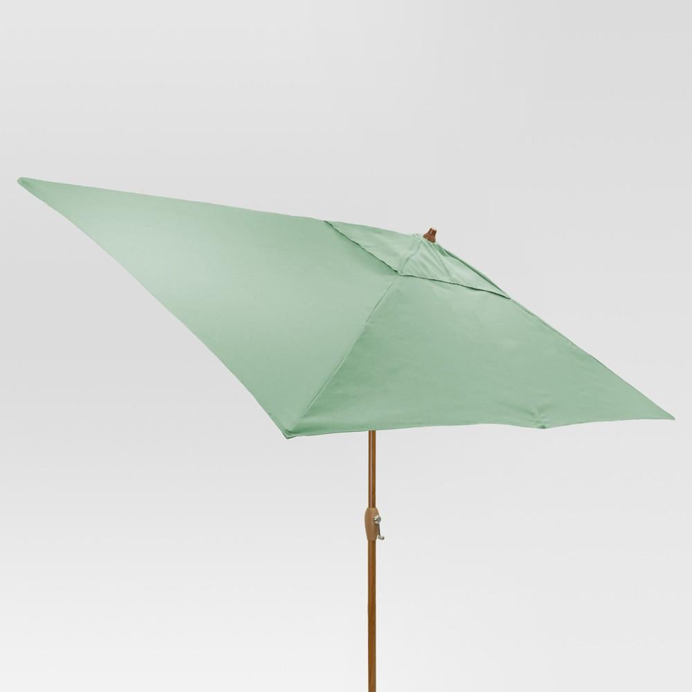 6.5' x 10' Rectangle Umbrella - Aqua (Blue) - Medium Wood Finish - Threshold