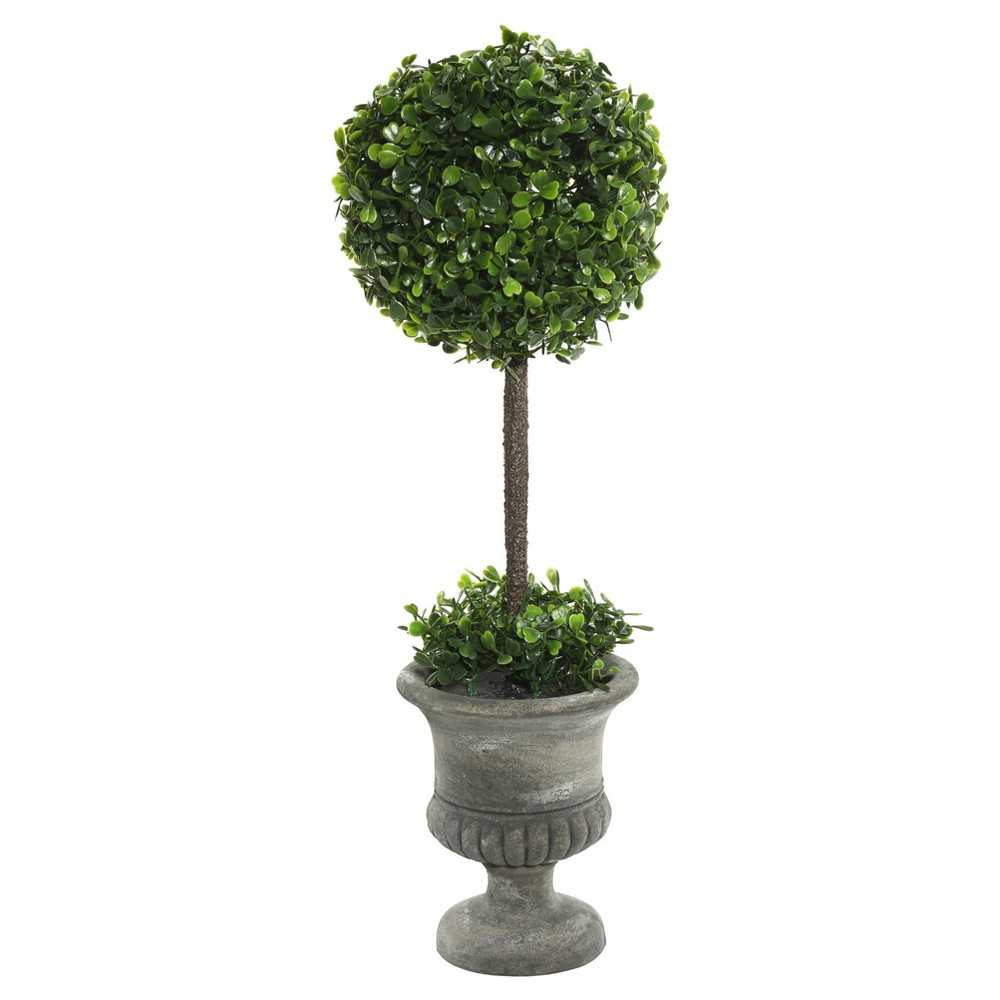 Artificial Boxwood Topiary In Container (21in) Green - Vickerman