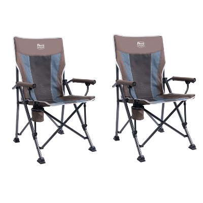 Timber Ridge Indoor Outdoor Portable Lightweight Folding Camping High Back Lounge Chair with Cup Holders, Earth (2 Pack)