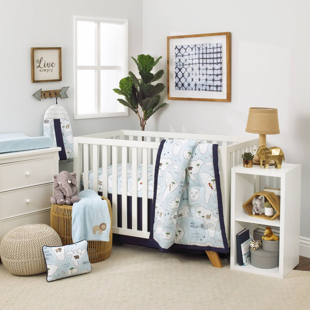 Image of NoJo Dreamer Little Explorer World Map Nursery Crib Bedding Set - 8pc
