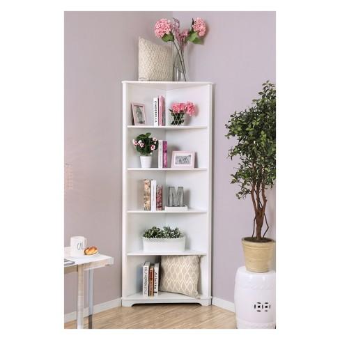 78 Mcafee Contemporary 5 Tier Corner Bookshelf White