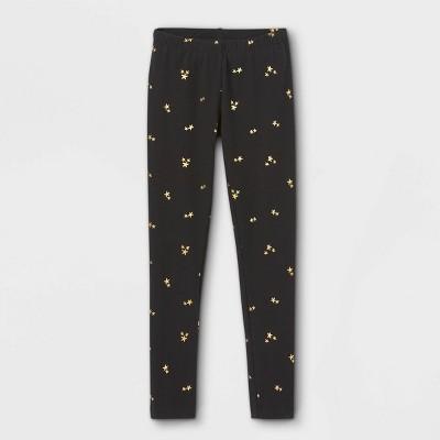 Girls' Mini Gold Star Leggings - Cat & Jack™ Black