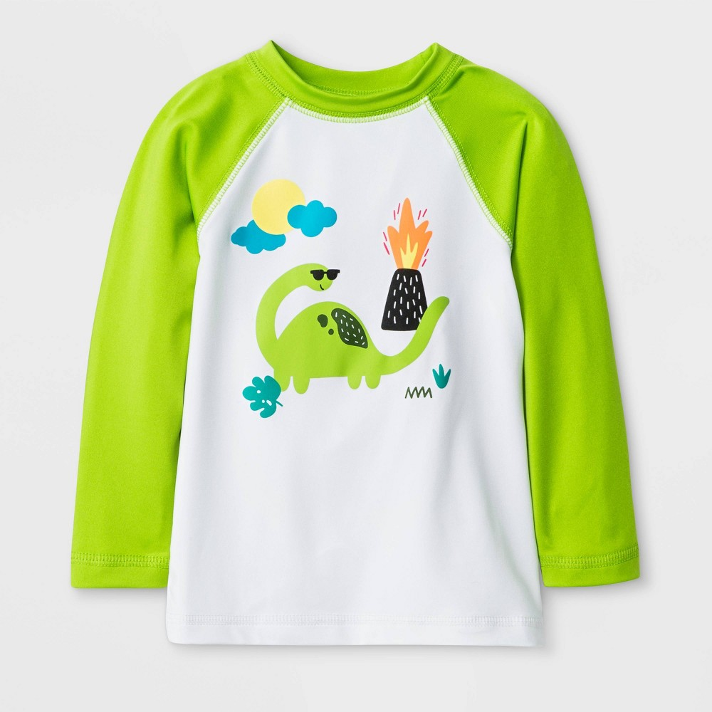Image of Baby Boys' Dinosaur Rash Guard - Cat & Jack Green 12M, Boy's