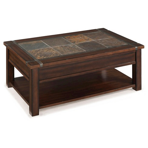 Roanoke Rectangular Lift-Top Cocktail Table with Casters - Cherry & Slate - Magnussen Home - image 1 of 1