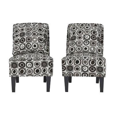 Set of 2 Bryce Armless Chair Geometric - Handy Living